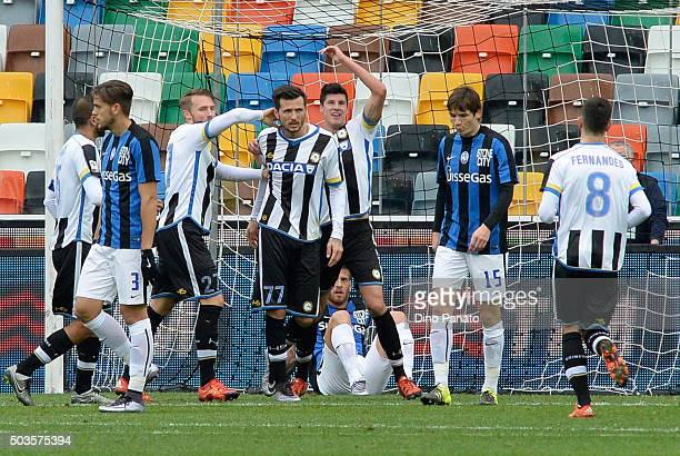 Cyril Thereau of Udinese Calcio celebrates after scoring his opening goal during the Serie A match between Udinese Calcio v Atalanta BC at Stadio...