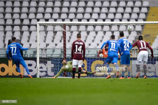 Cyril Thereau of ACF Fiorentina scores a goal on penalty kick during the Serie A football match between Torino FC and ACF Fiorentina ACF Fiorentina...