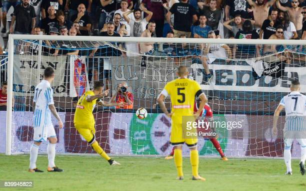 Cyril Thereau of Udinese Calcio scores his team's second goal from the penalty spot during the Serie A match between Spal and Udinese Calcio at...