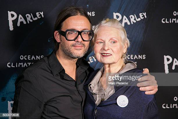 Cyrill Gutsch and Vivienne Westwood attend the 'Parley Talks' photocall at Les Bains Douches on December 8, 2015 in Paris, France.