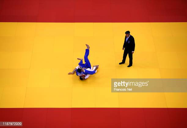 Cyrill Maret competes against Elmar Gasimov in the Men's Judo 100kg Quarter Final matchduring day four of the 2nd European Games at Chizhovka Stadium...