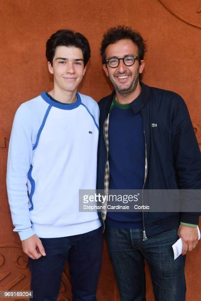 Cyrille Eldin and his son Camille attend the 2018 French Open Day Twelve at Roland Garros on June 7 2018 in Paris France