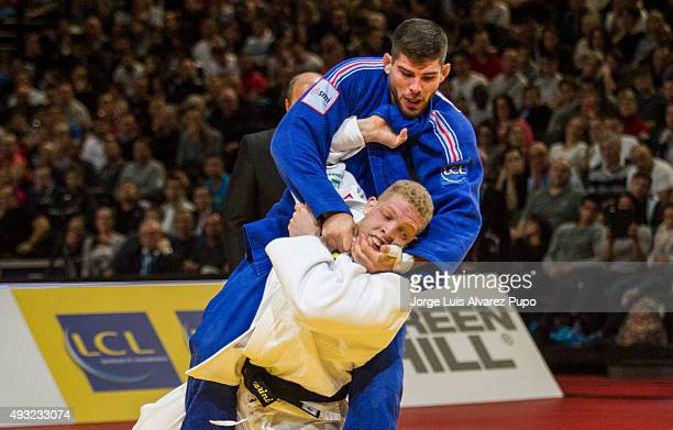 Cyrille Maret from France attacks Rafael Buzacarini from Brazil during the under 100kg as part of the Paris Grand Slam 2015 at the Palais Omnisports...