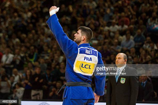 Cyrille Maret from France celebrates after winning in under 100kg final against Rafael Buzacarini from Brazil as part of the Paris Grand Slam 2015 at...