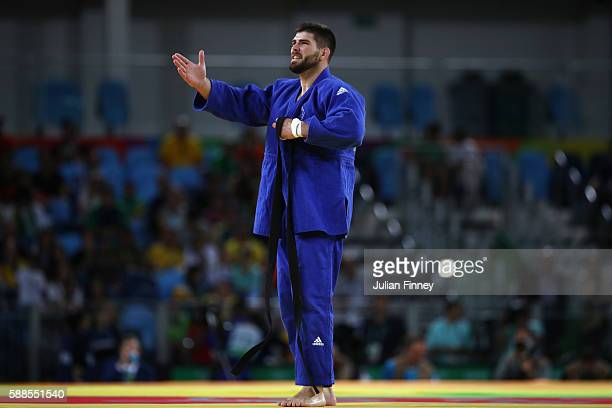 Cyrille Maret of France celebrates after winning the men's 100kg bronze medal judo contest against KarlRichard Frey of Germany on Day 6 of the 2016...