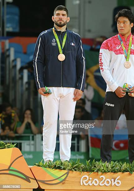 Cyrille Maret of France celebrates his bronze medal after the final Judo men's 100kgs at Carioca Arena 2 during Day 6 of the 2016 Rio Olympics on...