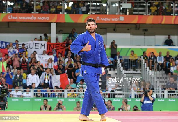 Cyrille Maret of France celebrates his victory after the final Judo men's 100kgs at Carioca Arena 2 during Day 6 of the 2016 Rio Olympics on August...