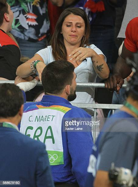 Cyrille Maret of France celebrates his victory with his wife after the final Judo men's 100kgs at Carioca Arena 2 during Day 6 of the 2016 Rio...