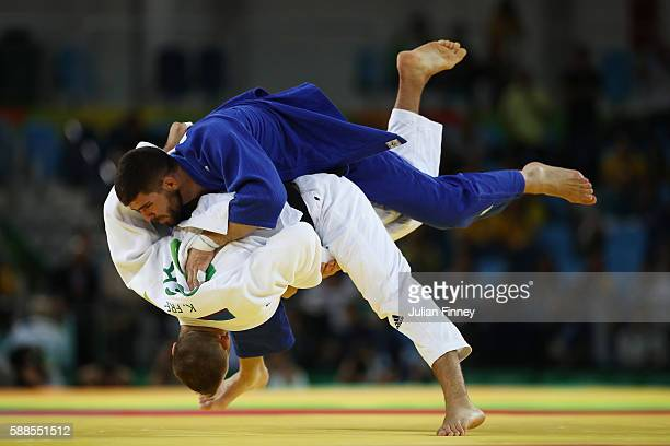 Cyrille Maret of France competes with KarlRichard Frey of Germany during the men's 100kg bronze medal judo contest on Day 6 of the 2016 Rio Olympics...