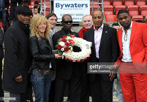 Cyrille Regis Nicky Brown Phil Hoadley Keith Cunningham Brendan Batson and Jack Beula Chief Executive of Nubian Jak community trust gather to lay a...