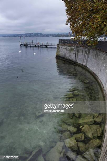 cyrstal clear waters of lake zurich on an autumn day. - emreturanphoto stock pictures, royalty-free photos & images