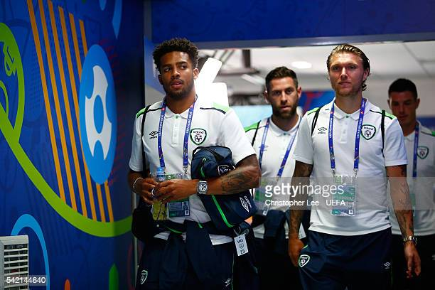 Cyrus Christie and Jeff Hendrick of Republic of Ireland are seen on arrival at the stadium prior to the UEFA EURO 2016 Group E match between Italy...