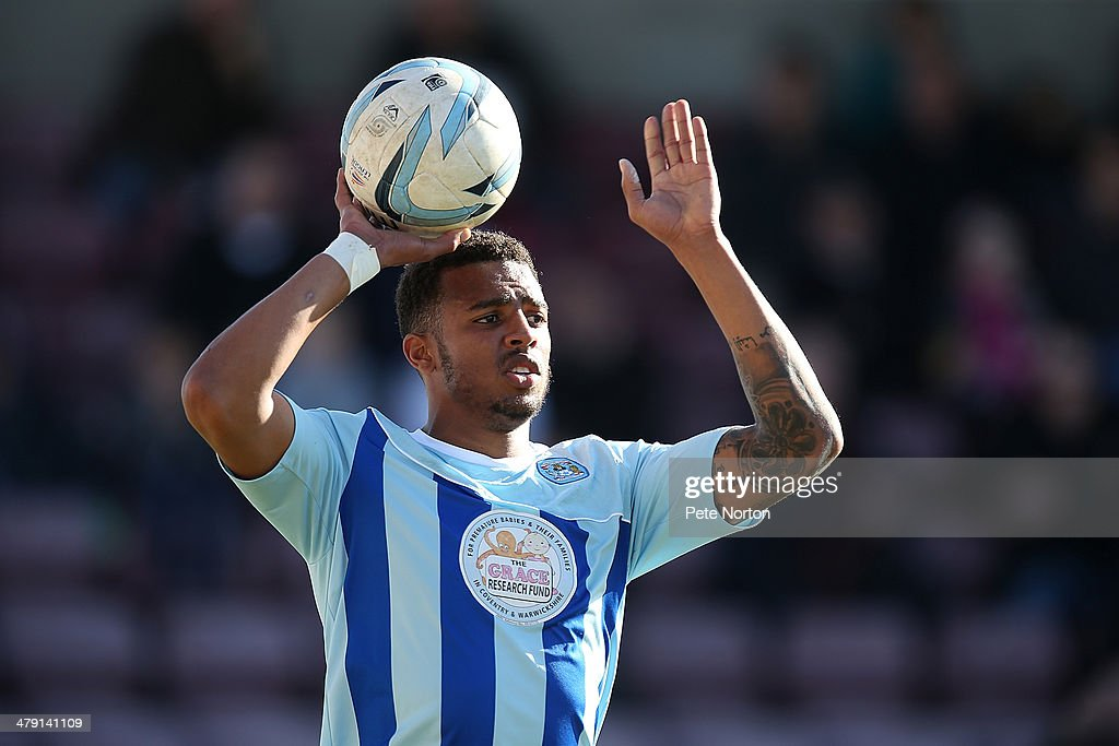 Cyrus Christie of Coventry City in action during the Sky Bet League One match between Coventry City and Port Vale at Sixfields Stadium on March 16, 2014 in Northampton, England.