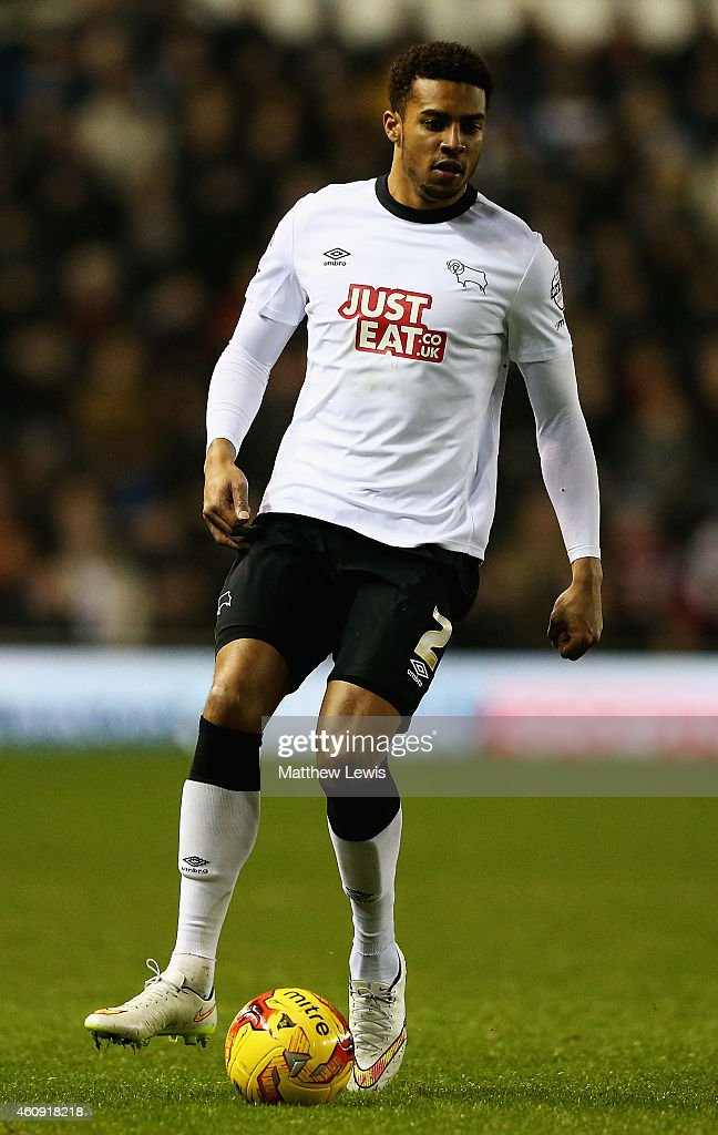 Cyrus Christie of Derby County in action during the Sky Bet Championship match between Derby County and Leeds United at Pride Park Stadium on December 30, 2014 in Derby, England.