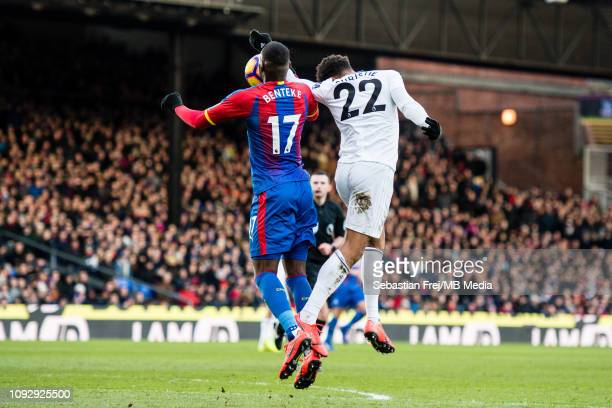 Cyrus Christie of Fulham FC handball in penalty area during the Premier League match between Crystal Palace and Fulham FC at Selhurst Park on...