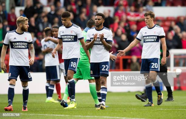 Cyrus Christie of Middlesbrough and team mates claps his fans at the end of the Sky Bet Championship match between Nottingham Forest and...