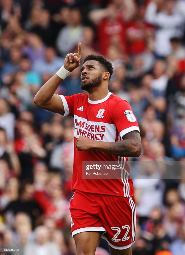 Cyrus Christie of Middlesbrough celebrates his late equaliser during the Sky Bet Championship match between Fulham and Middlesbrough at Craven Cottage on September 23, 2017 in London, England.