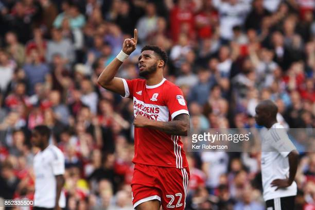 Cyrus Christie of Middlesbrough celebrates his late equaliser during the Sky Bet Championship match between Fulham and Middlesbrough at Craven...