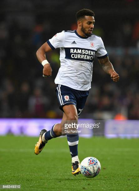 Cyrus Christie of Middlesbrough in action during the Sky Bet Championship match between Aston Villa and Middlesbrough at Villa Park on September 12...