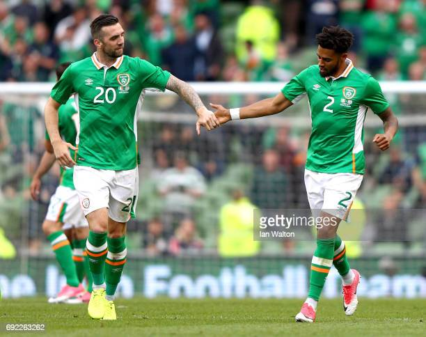 Cyrus Christie of the Republic of Ireland celebrates scoring his team's second goal with Shane Duffy during the International Friendly match between...