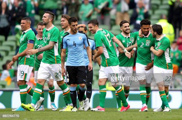 Cyrus Christie of the Republic of Ireland celebrates scoring his team's second goal with team mates during the International Friendly match between...