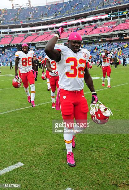 Cyrus Gray of the Kansas City Chiefs celebrates after the game against the Tennessee Titans at LP Field on October 6 2013 in Nashville Tennessee