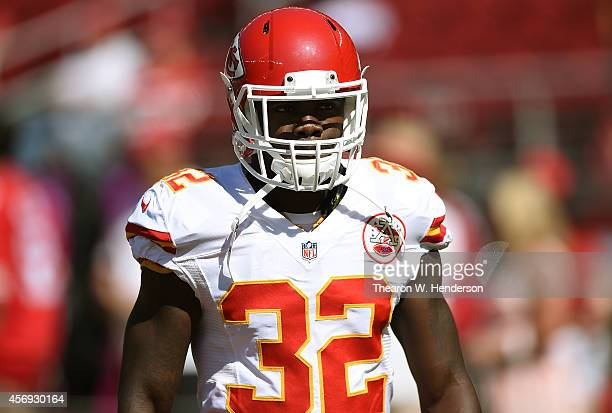 Cyrus Gray of the Kansas City Chiefs looks on during pregame warm ups prior to playing the San Francisco 49ers at Levi's Stadium on October 5 2014 in...