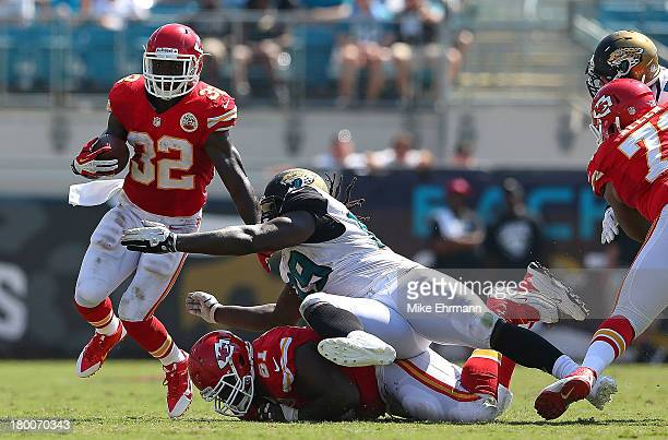 Cyrus Gray of the Kansas City Chiefs rushes during a game against the Jacksonville Jaguars at EverBank Field on September 8 2013 in Jacksonville...