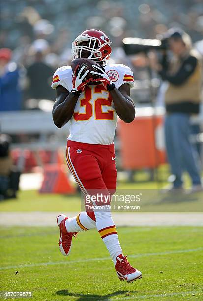 Cyrus Gray of the Kansas City Chiefs warms up during pregame warm ups prior to playing the Oakland Raiders at Oco Coliseum on December 15 2013 in...
