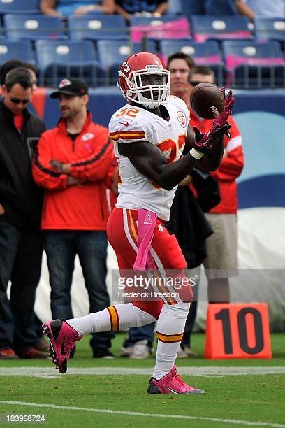 Cyrus Gray of the Kansas City Chiefs warms up prior to a game against the Tennessee Titans at LP Field on October 6 2013 in Nashville Tennessee