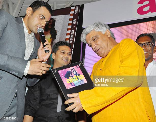 Cyrus Sahukar with Amit Trivedi and Javed Akhtar at the music launch of the film Aisha in Mumbai on July 4 2010