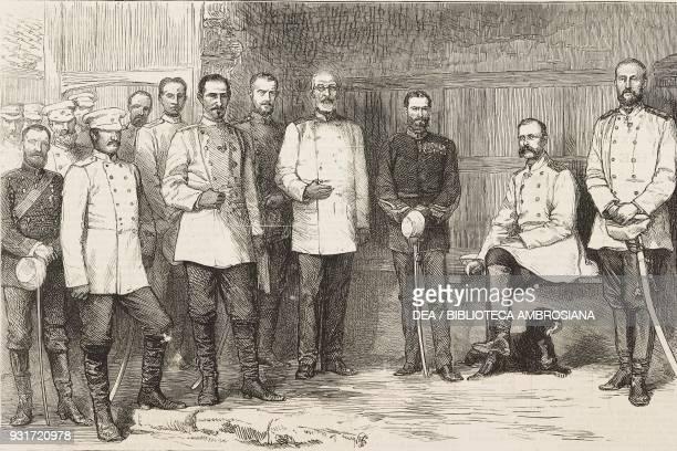 Czar Alexander II and his staff at Gorna Studena from right to left grand duke Nikolaj Nikolaevic Romanov Alexander II prince Charles of Romania...