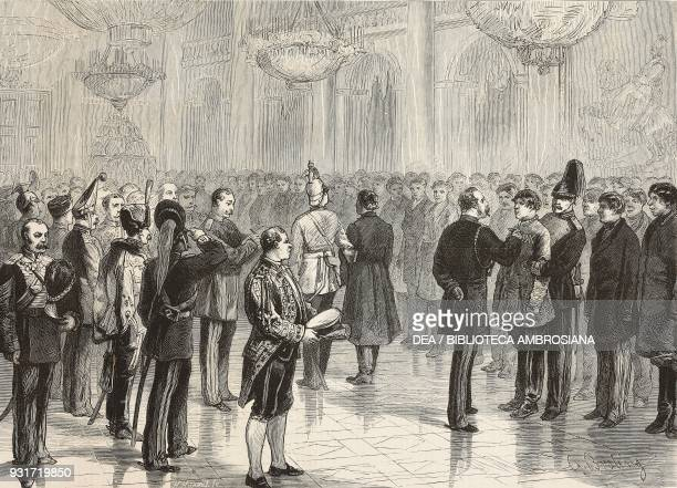 Czar Alexander II marking recruits with the number of their regiments Winter Palace Saint Petersburg Russia illustration from the magazine The...