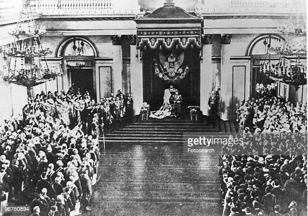 Czar Nicholas II making his speech from the throne presumably in the Parliament or Duma Russia date unknown