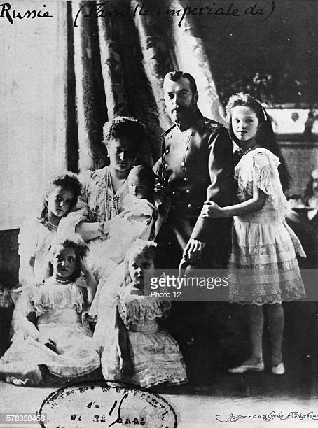 Czar Nicholas II the czarina and their five children in 1905 He poses with his new born son Alexei his wife Alexandra Feodorovna and his four...