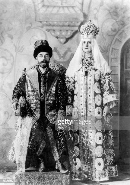 Czar of Russia Nicolas II and his wife Alexandra Fedorovna with dynastic suit of czar Alexei Mikhailovich 1st and czarina Maria Ilyinichna...