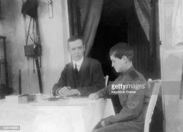 Czarevich ALEXEI the son of Czar NICOLAS II of Russia studying English with his private tutor CS GIBBES in Russia between 1914 and 1916