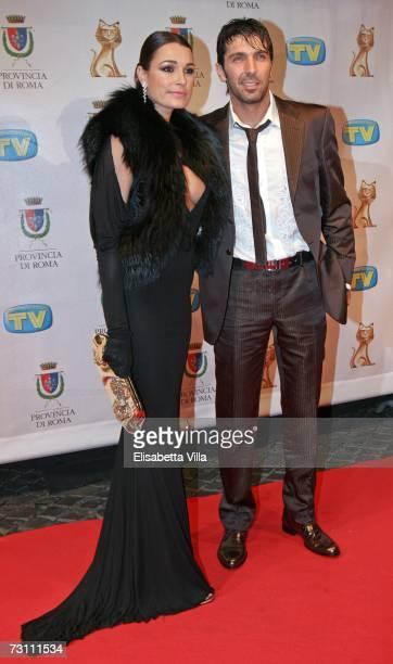 Czech actress Alena Seredova and Italian soccer goalkeeper Gianluigi Buffon arrive at the Italian TV awards show Telegatti at the Auditorium...