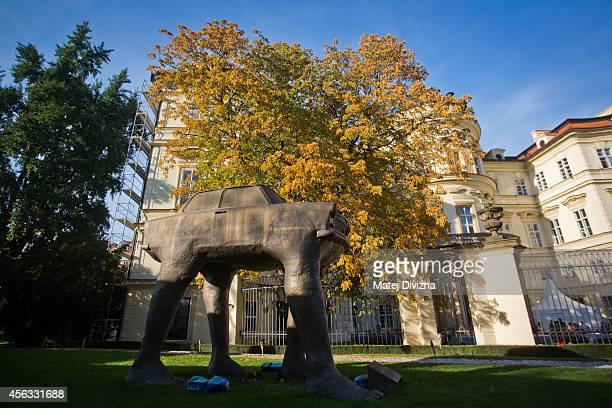 Czech artist David Cerny Walking Traband sculpture stands in the garden of the German embassy on September 29 2014 in Prague Czech Republic In...