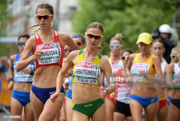 Czech athlete Anezka Drahotova and Lithuanian athlete Brigita VirbalyteDimsiene in the Men's and Women's 20km Race Walk during day five of the 24th...