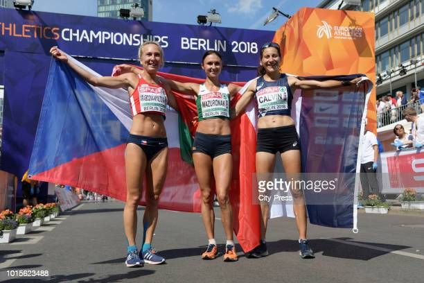 Czech athlete Eva VrabcováNývltová belarus athlete Volha Mazuronak and french athlete Clémence Calvin in the Womens Marathon final during day six of...