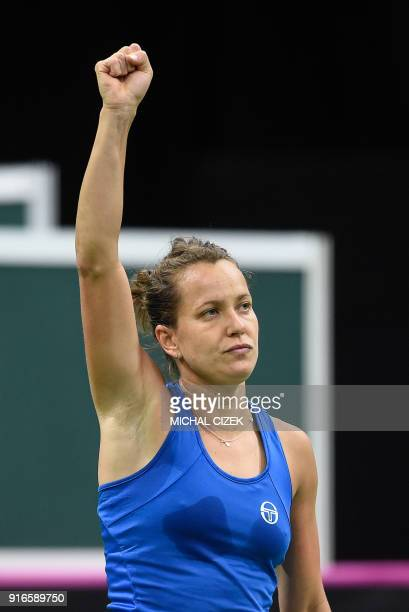 Czech Barbora Strycova reacts after her match against Swiss Belinda Bencic in the first round of the International Tennis Federation Fed Cup match...