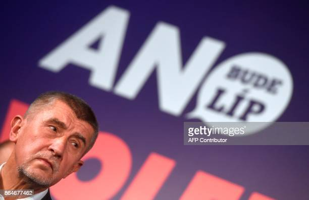 Czech billionaire Andrej Babis chairman of the ANO movement answers to journalists after Czech elections on October 21 at ANO headquarter in Prague...