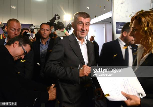 Czech billionaire Andrej Babis chairman of the ANO movement arrives at ANO headquarters after Czech elections on October 21 2017 in Prague The party...