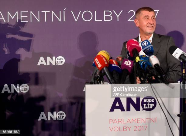 Czech billionaire Andrej Babis chairman of the ANO movement arrives to deliver his speech at ANO headquarter after Czech elections on October 21 2017...