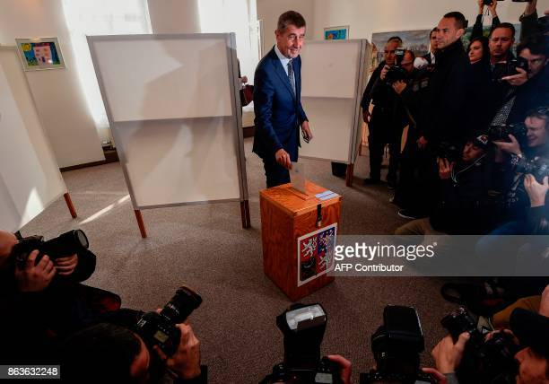 Czech billionaire Andrej Babis chairman of the ANO movement casts his ballot at a polling station during the first day of the Czech elections on...