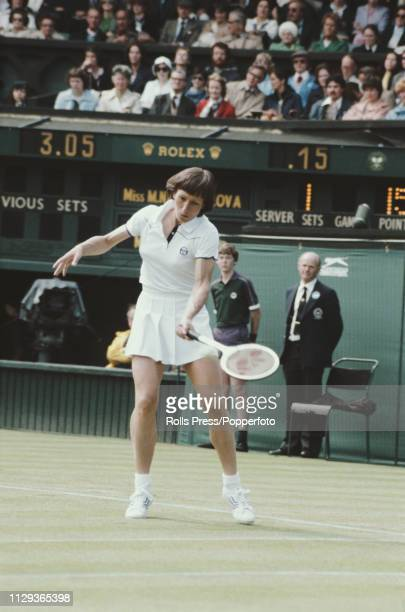 Czech born American tennis player Martina Navratilova pictured in action against Ilana Kloss of South Africa in the first round of the Women's...