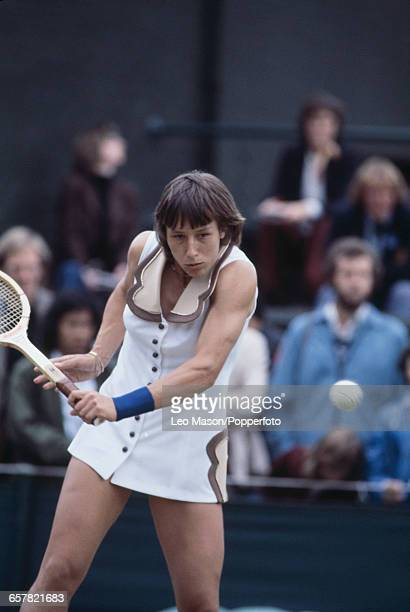 Czech born American tennis player Martina Navratilova pictured in action competing to reach and win the final of the Ladies' Singles tournament...