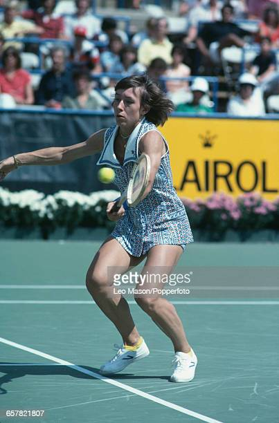 Czech born American tennis player Martina Navratilova pictured in action during competition to progress to the semifinals of the 1978 US Open Women's...