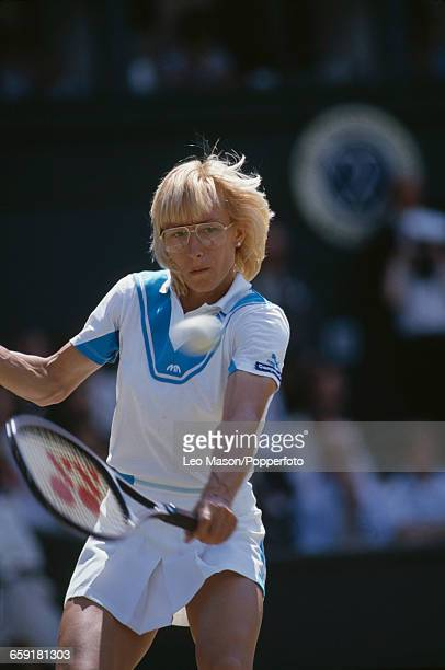Czech born American tennis player Martina Navratilova pictured in action during progress to reach and win the final of the Ladies' Singles tournament...
